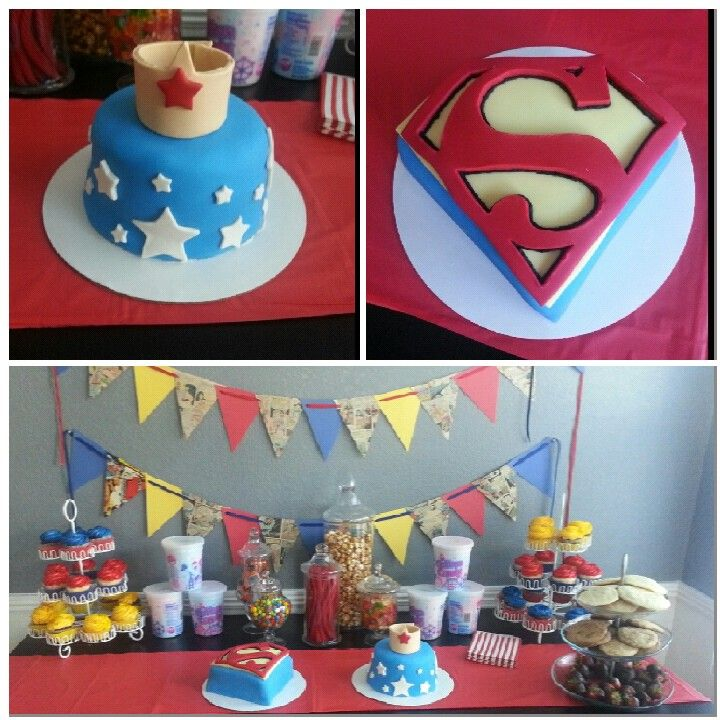 Boy girl twins superman wonderwoman party party ideas