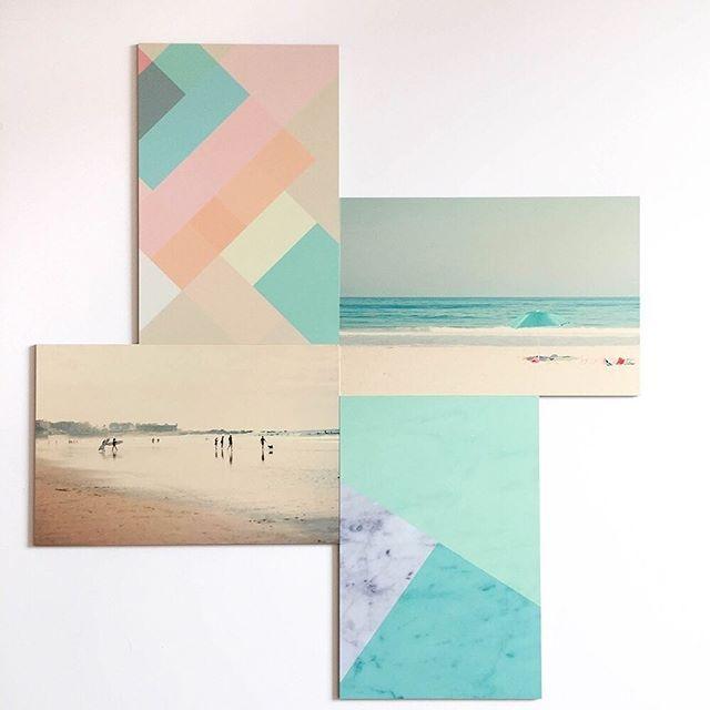 P A S T E L . L'idée du jours 💡: Créer un beau mur de cadres sur le ton pastel ! . #pastel #beach #cadre