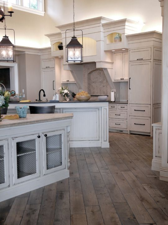 Custom cabinets with crown molding island and peninsula for Unique kitchen floors