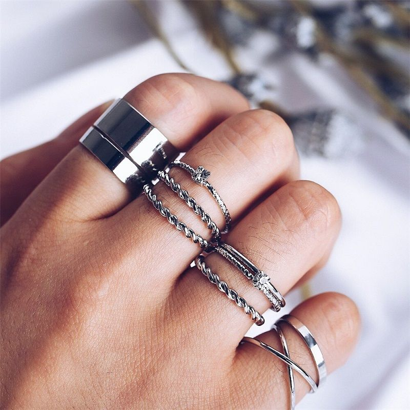 birthday gift for friend geometric texture stackable ring anniversary gift simple promise ring Sterling silver stacking rings