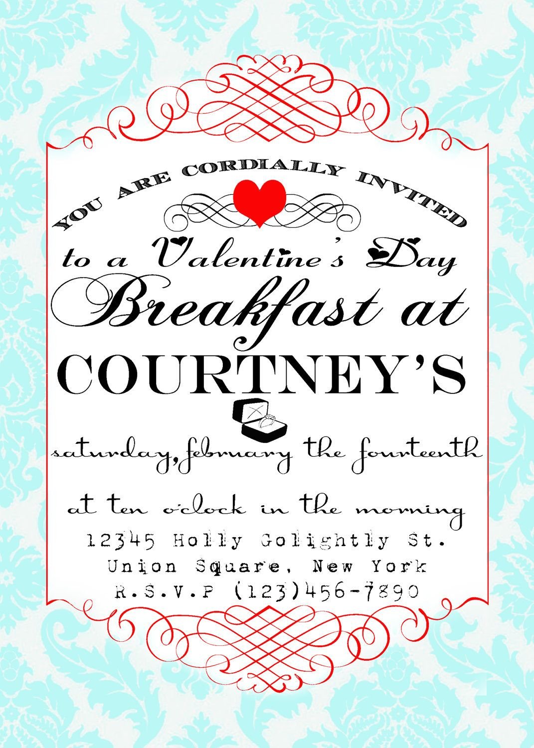 Breakfast at Tiffany\'s party Invitation. Except it\'d be breakfast at ...