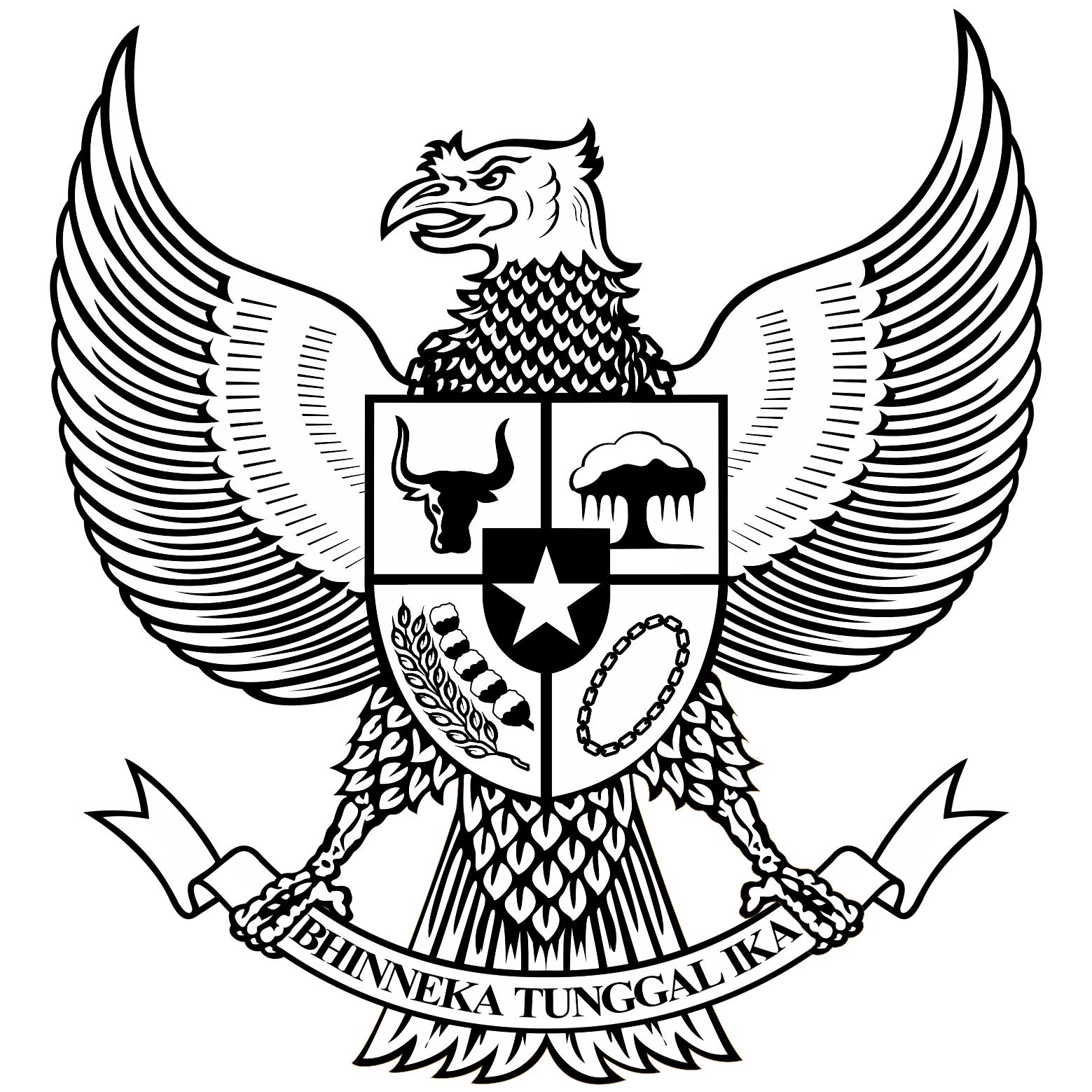 Logo Garuda Pancasila Bw Hitam Putih Buku Mewarnai Lambang Negara Artis Bertato