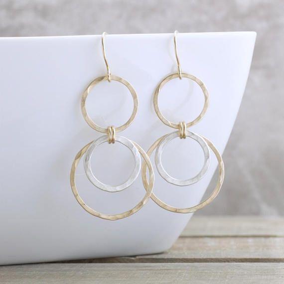 00d54d4a01c5e Mixed Metal Geometric Earrings Circle Earrings Boho Earrings Matte ...