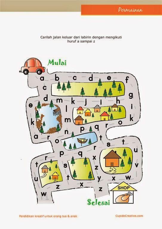 Belajar Huruf Paud Anak Tk Balita Labirin Maze Belajar