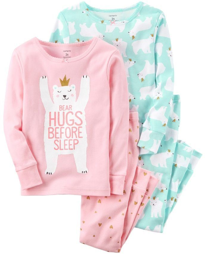 92ebb3110 Girls 4-14 Carter s 4-pc. Polar Bear Top   Bottom Pajama Set ...