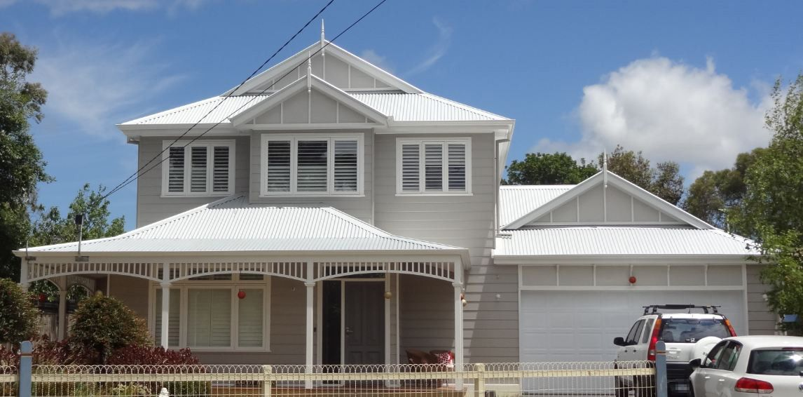 White Weatherboard Silver Roof Google Search House