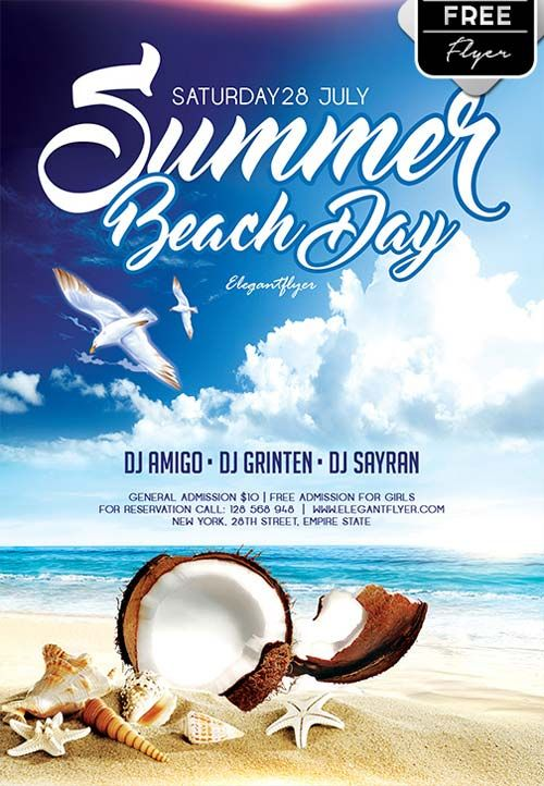 Summer Beach Day Free Flyer Template  Nice Ad    Free