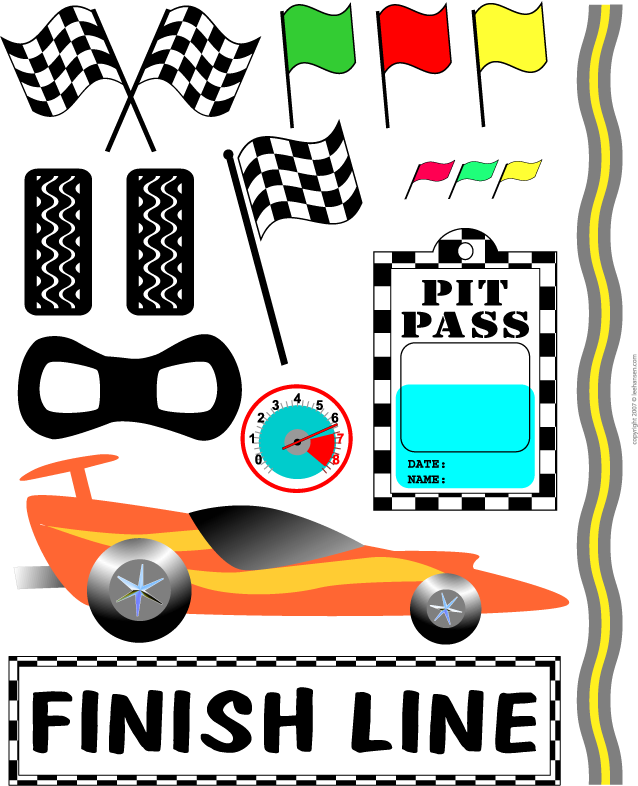 race car clipart for es birthday could use some of these for toppers on