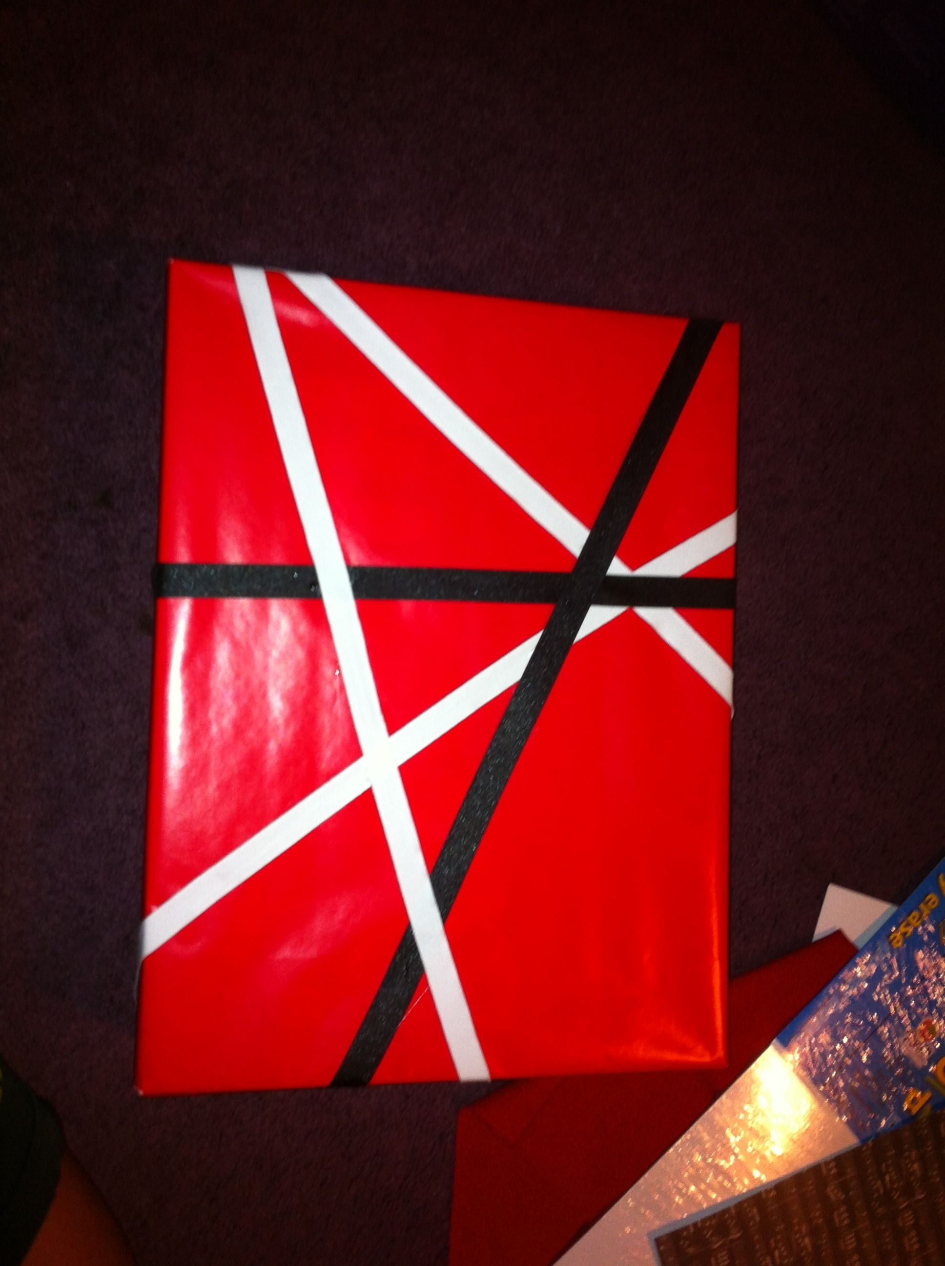 I Wrapped My Dads Present With The Eddie Van Halen Stripes Happy 50th Daddy Presents For Dad Cool Things To Make Happy 50th