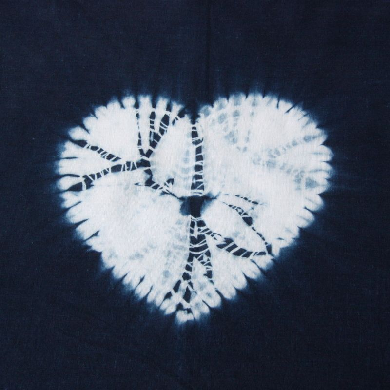 Maki-age Shibori heart. Mayan indigo on cotton. Rob Jones, Alexandra Palace, Feb 2016.