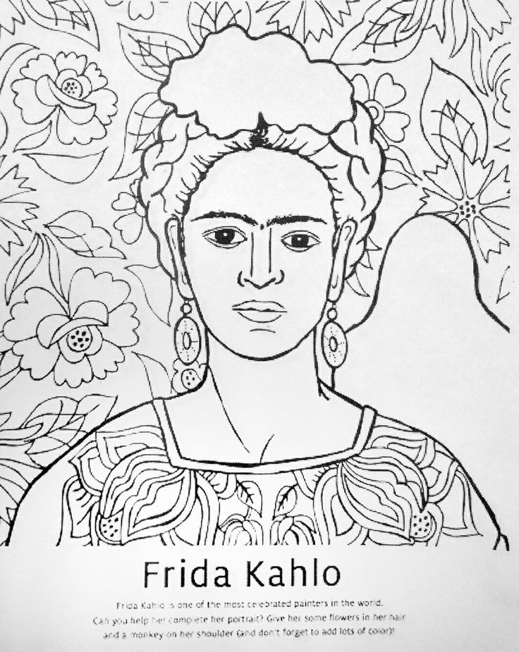 Frida Kahlo Coloring Pages Download And Print For Free Art Art Handouts Art Worksheets