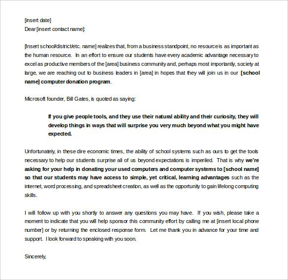 Sample Sponsorship Letter For Donations Template Word Format