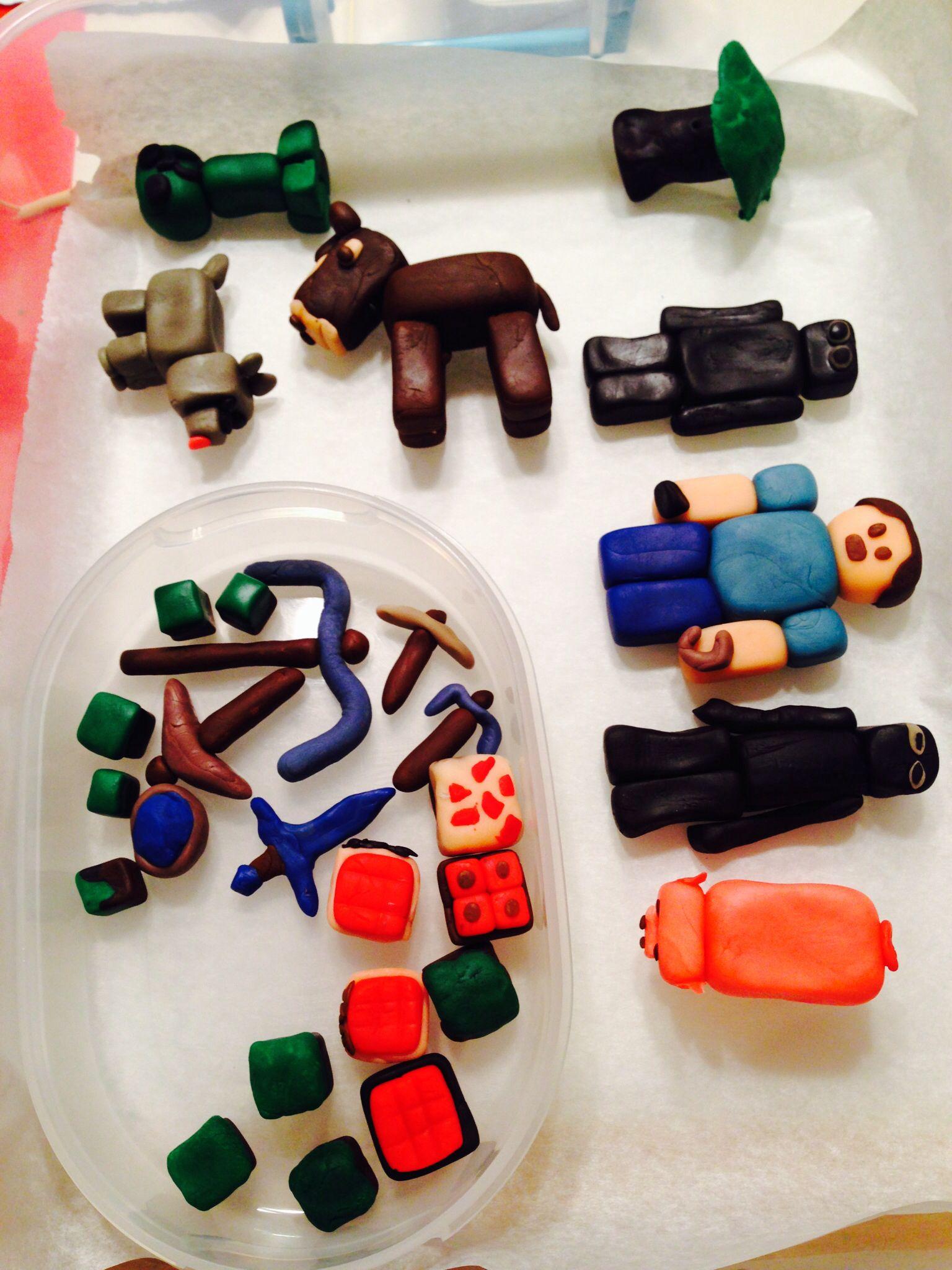 Minecraft figures made of edible molding dough for Salt dough crafts figures
