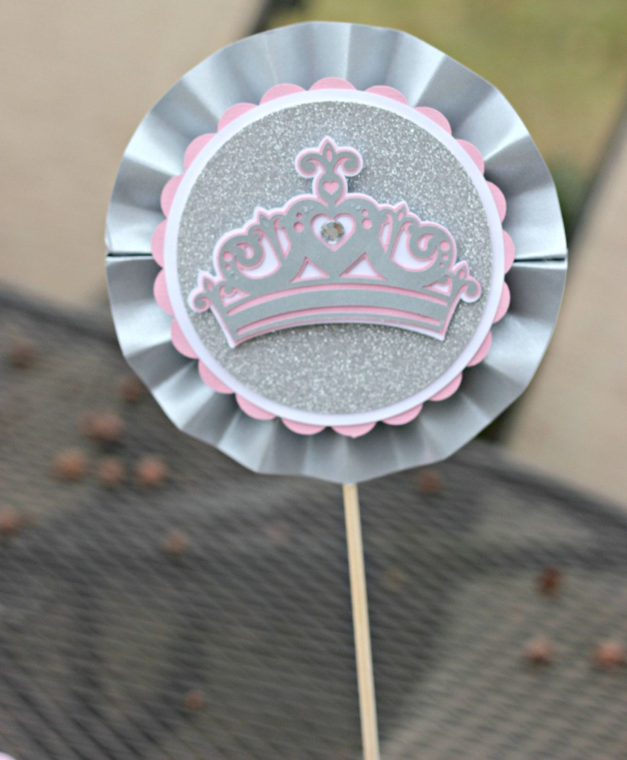 Girl Pink and Silver Little Princess 1st / First Birthday  Centerpiece Sticks.  Set of 3 / Rosette sticks.  Custom and Fully Assembled. by CharmingTouchParties on Etsy