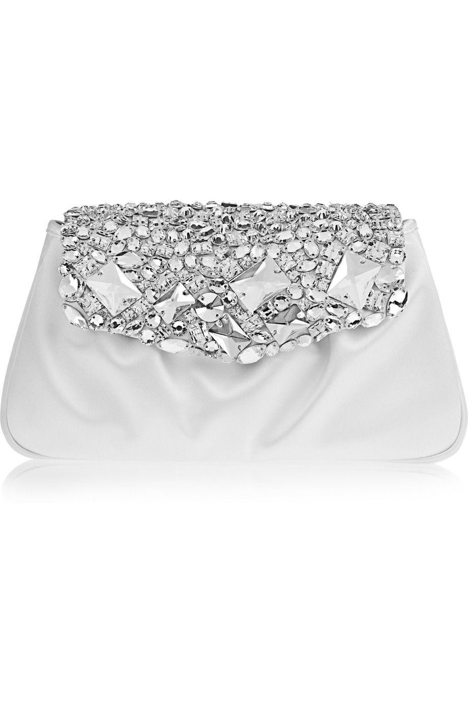 3ce68a7c3af5 Yves Saint Laurent  Swarovski Crystal-Embellished Satin Clutch- perfect  white evening clutch