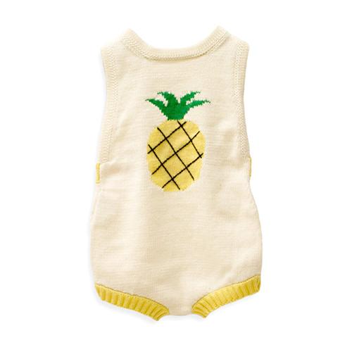 9719d1916 Sleeveless Organic Knit Pineapple Romper - Spearmint Ventures, LLC ...