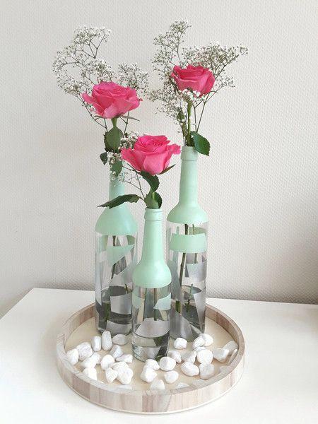 Flaschenvase Moderne Vase Silberne Vase