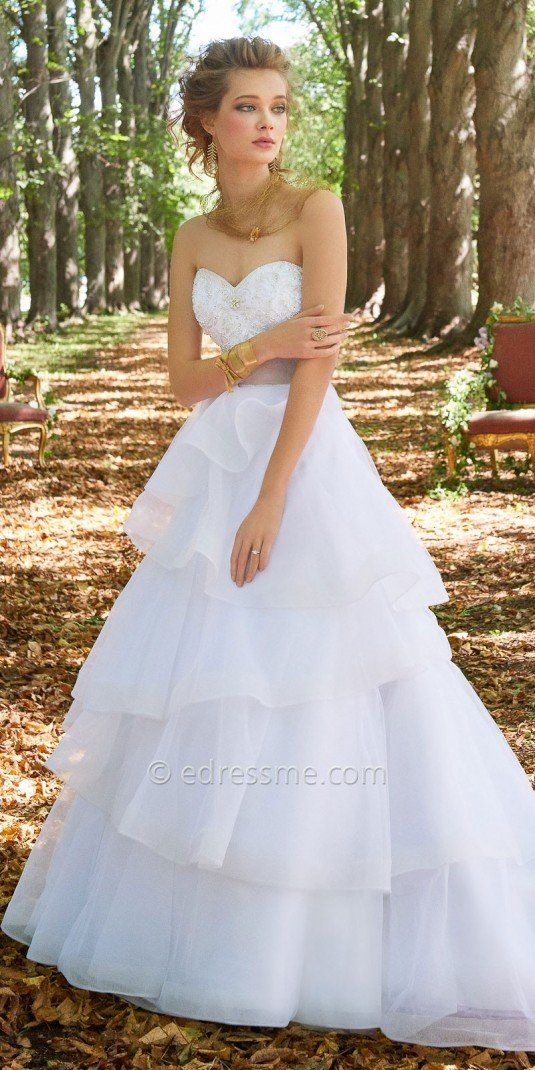 For A Stunning Walk Down The Aisle Slip On This Strapless Beaded Organza Tiered Wedding Dress By Camille La Vie Sweetheart Neckline Ed