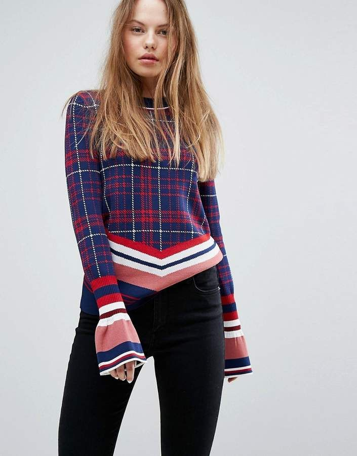 5d595e51 Tommy Hilfiger Plaid Knit with Bell Sleeve | Products | Hilfiger ...