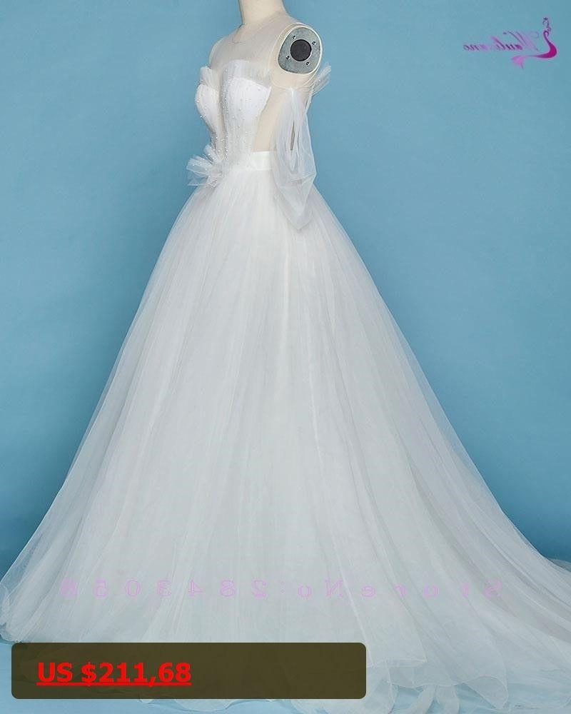 Waulizane Chic Silky Organza O-Neck A-Line Wedding Dress Puff ...