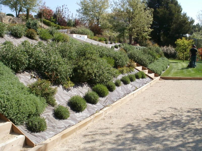 Amenagement D Une Butte Ou Terrain En Pente A Puyricard Proche Aix Jardinier Paysagiste Aix En Amenagement Jardin En Pente Amenagement Jardin Jardin En Pente