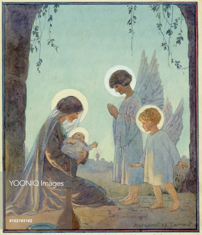 Madonna And Child With Two Angels. Christmas