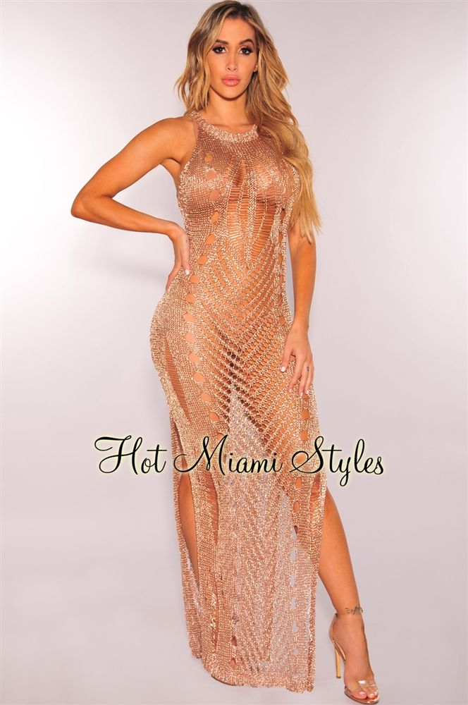 7b4192069f Blushed Rose Gold Metallic Sleeveless Maxi Dress