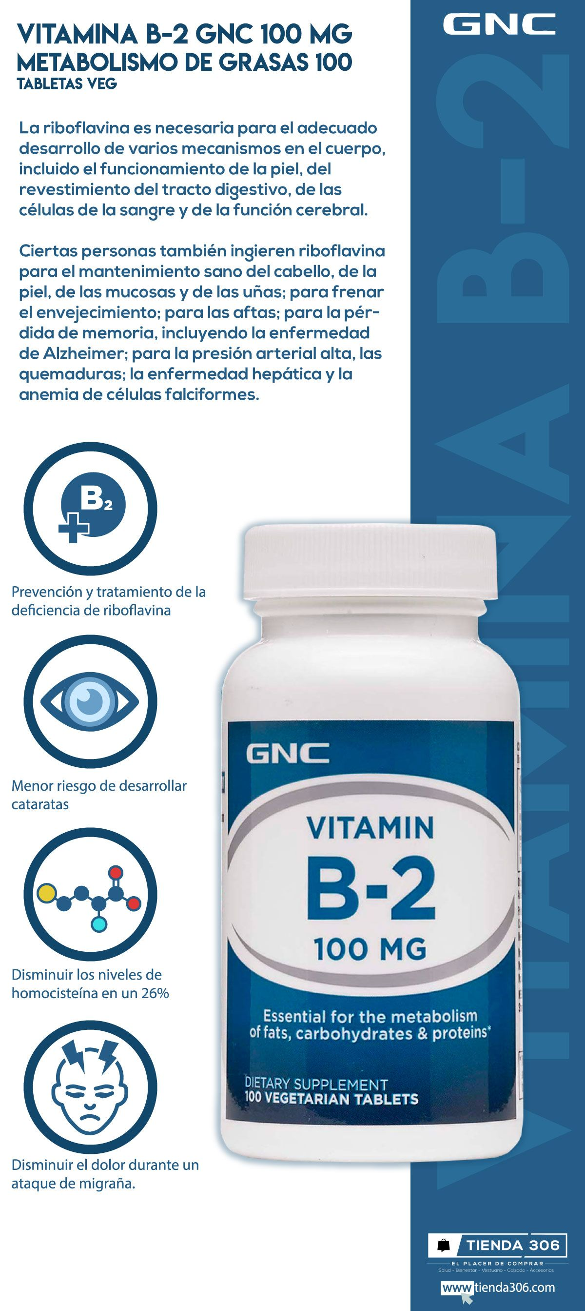 Vitamina B 2 Gnc 100 Mg Metabolismo De Grasas 100 Tabletas Veg En