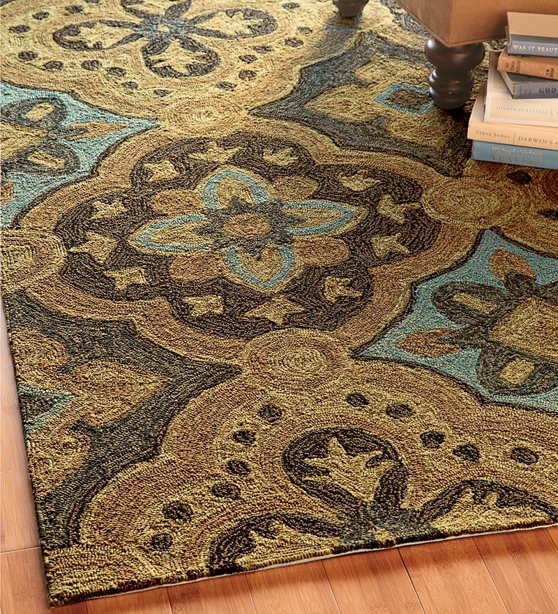 Blue Tan And Brown Indoor Outdoor Rug For Dining Room