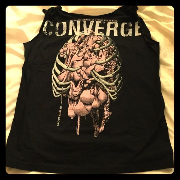 """Converge Band Tee- custom cut Converge - """"My hate grows as their tears fall"""" Band Tee is an adult medium. It was turned into a cute tank, tied on the shoulders, and only worn once. In excellent condition!! Hot Topic Tops Tees - Short Sleeve"""