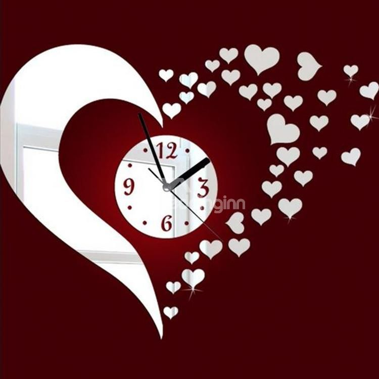Stunning Beautiful Heart Shaped Mirror Acrylic Wall Clock Coo Coo