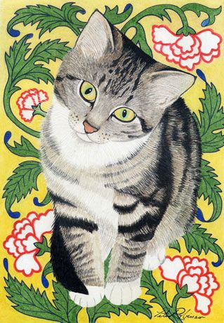 Gold as a shy kitten - Cat Painting by Peter Robinson