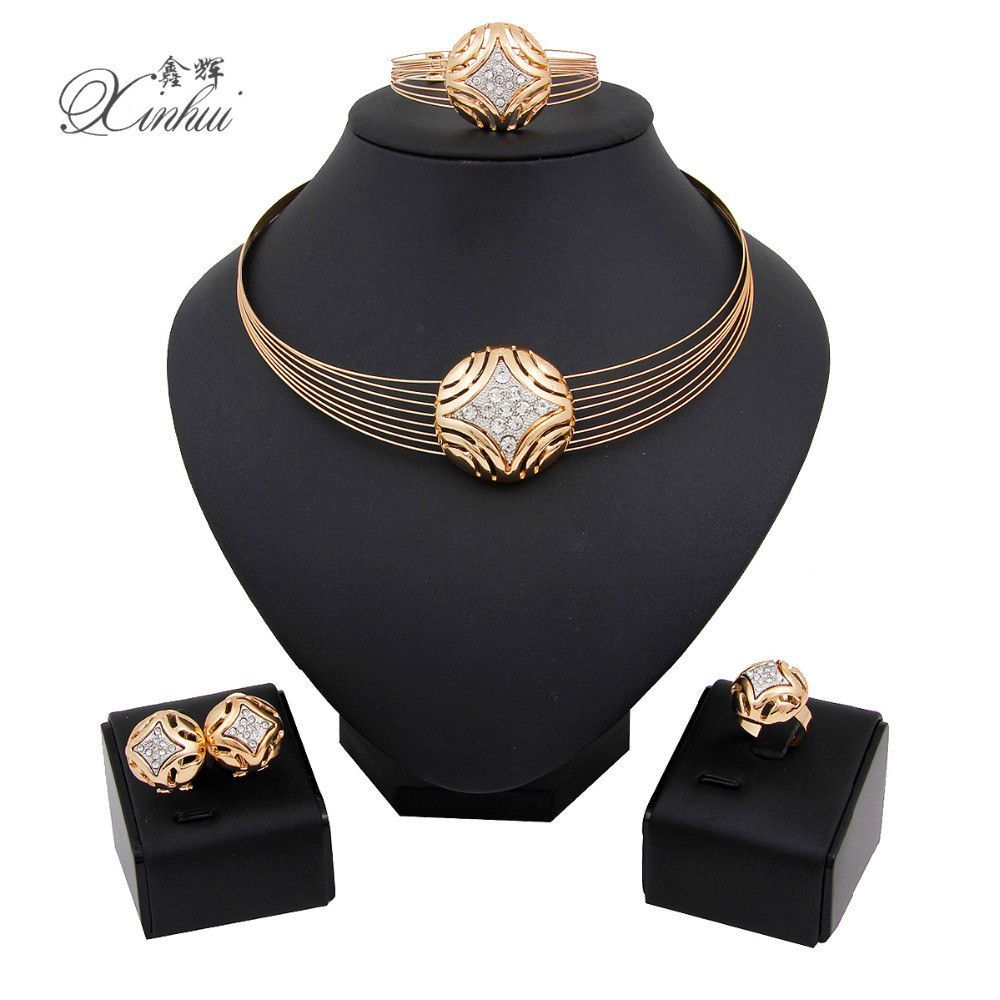 New fashion african custome women wedding dubai gold plated necklace