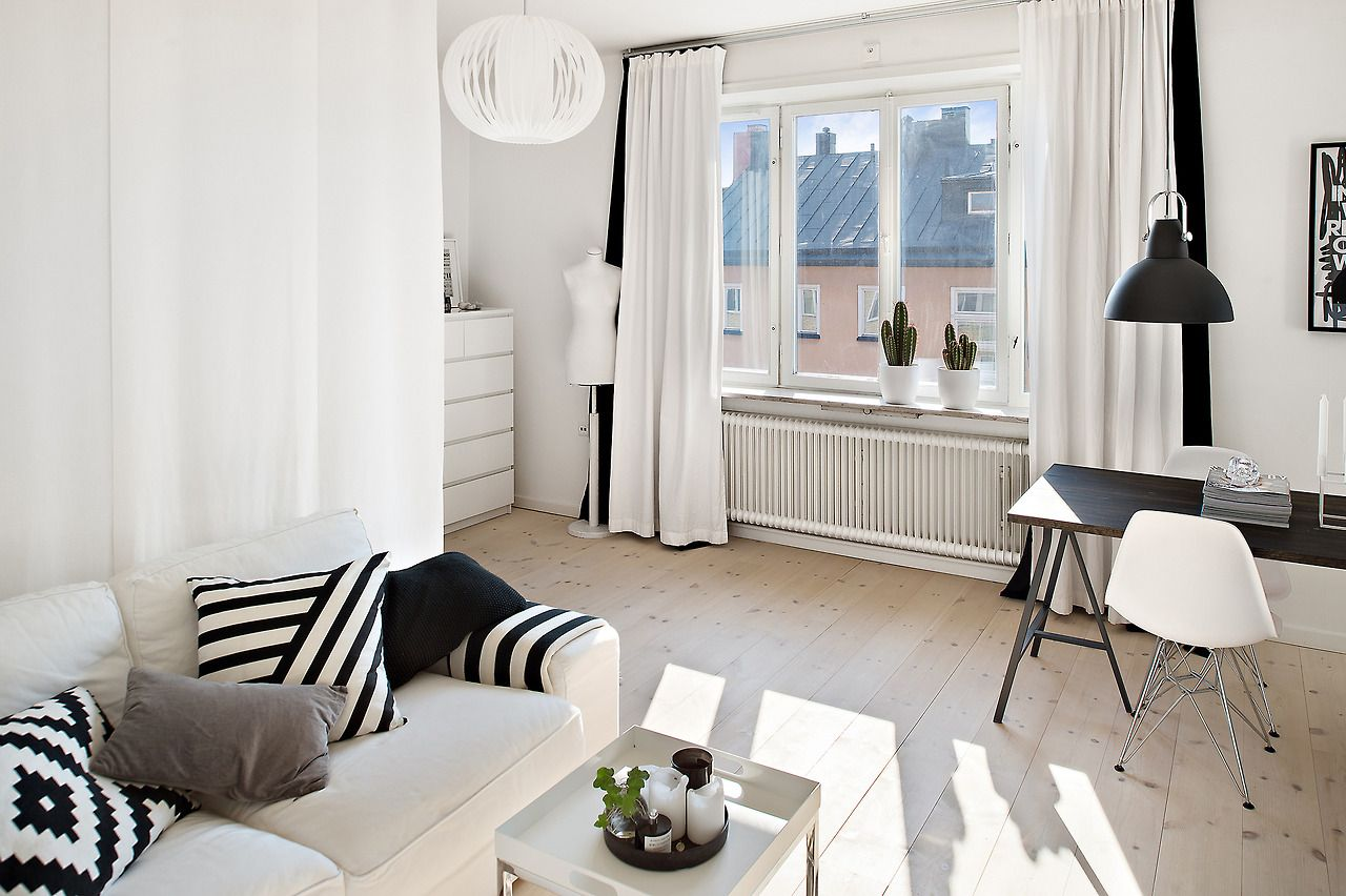 Black and white studio apartment Slaaphoek Kamerdecoratie Studentenkamer