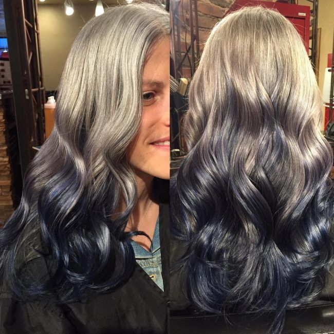Silver To Blue Ombre Reverse Ombre Hair Reverse Ombre Ombre Hair