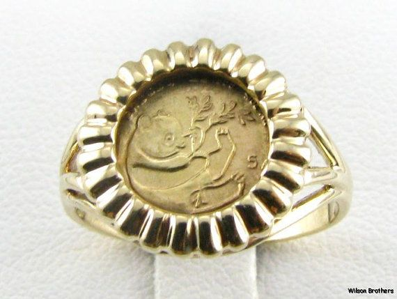 10k Yellow Gold Panda Coin Replica Ring By Wilson Brothers On Etsy 149 99 Coin Ring Coins Stuff To Buy