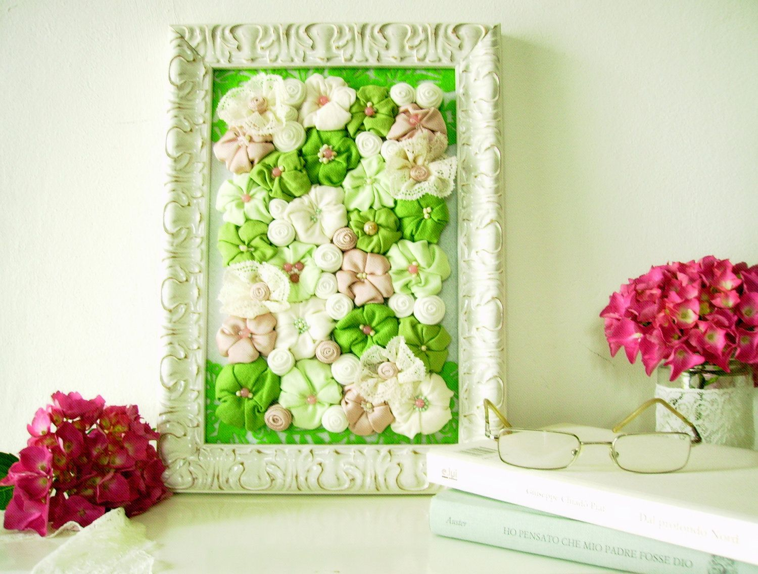Framed shabby chic fabric flower wall art - 3D design home decor ...