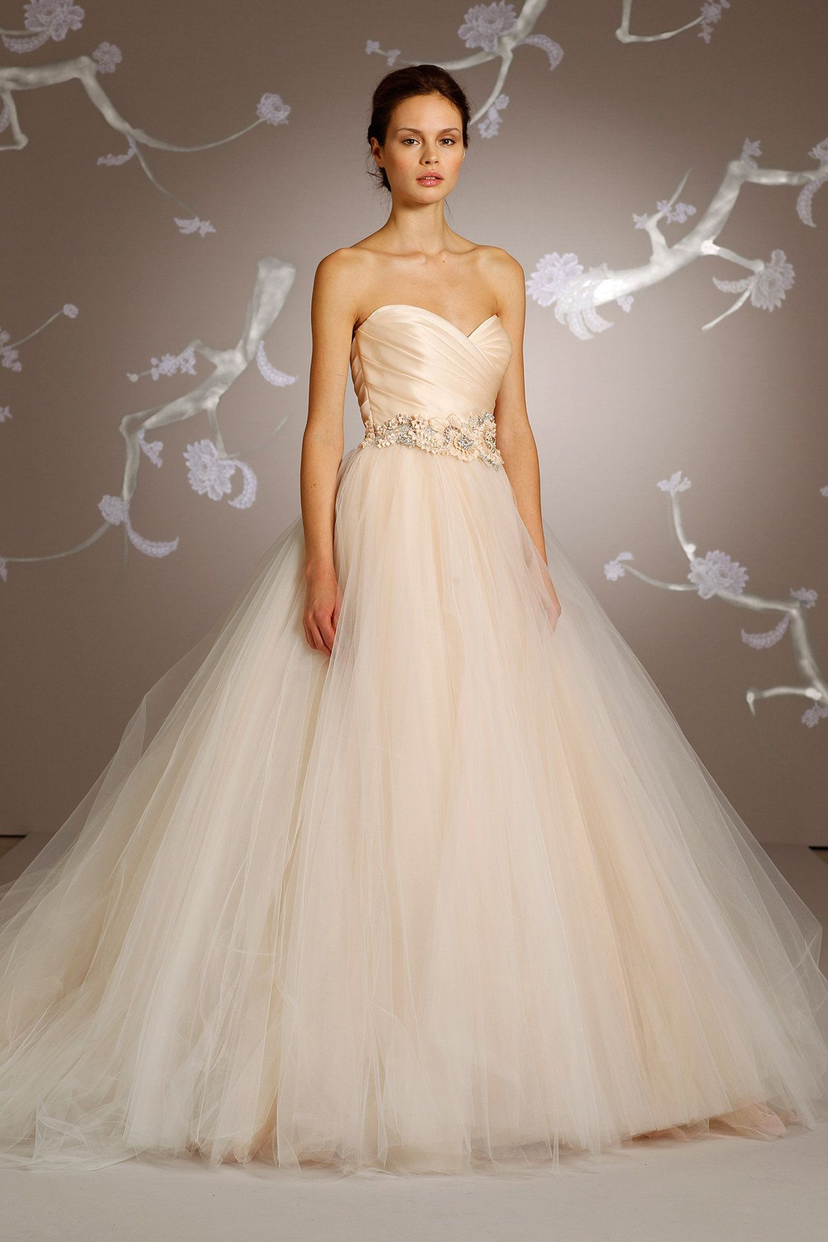 Sherbet Tulle Ball Bridal Gown Pleated Silk Satin Organza Bodice