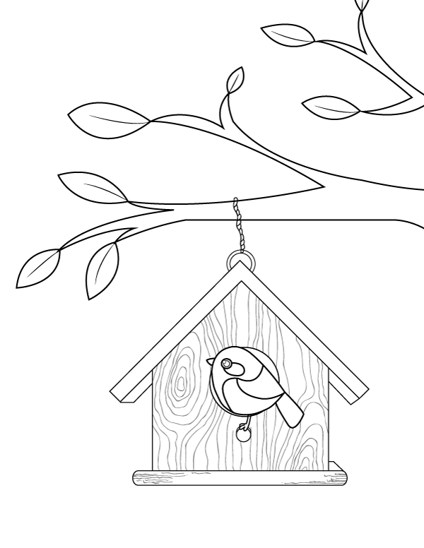 Printable Birdhouse Coloring Page