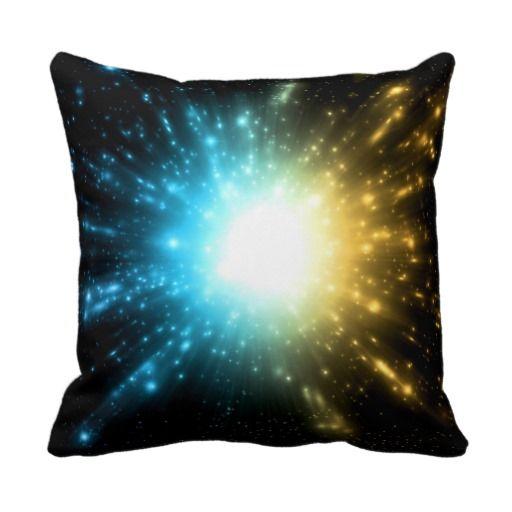 Universal explosion of  energy yellow blue white pillows