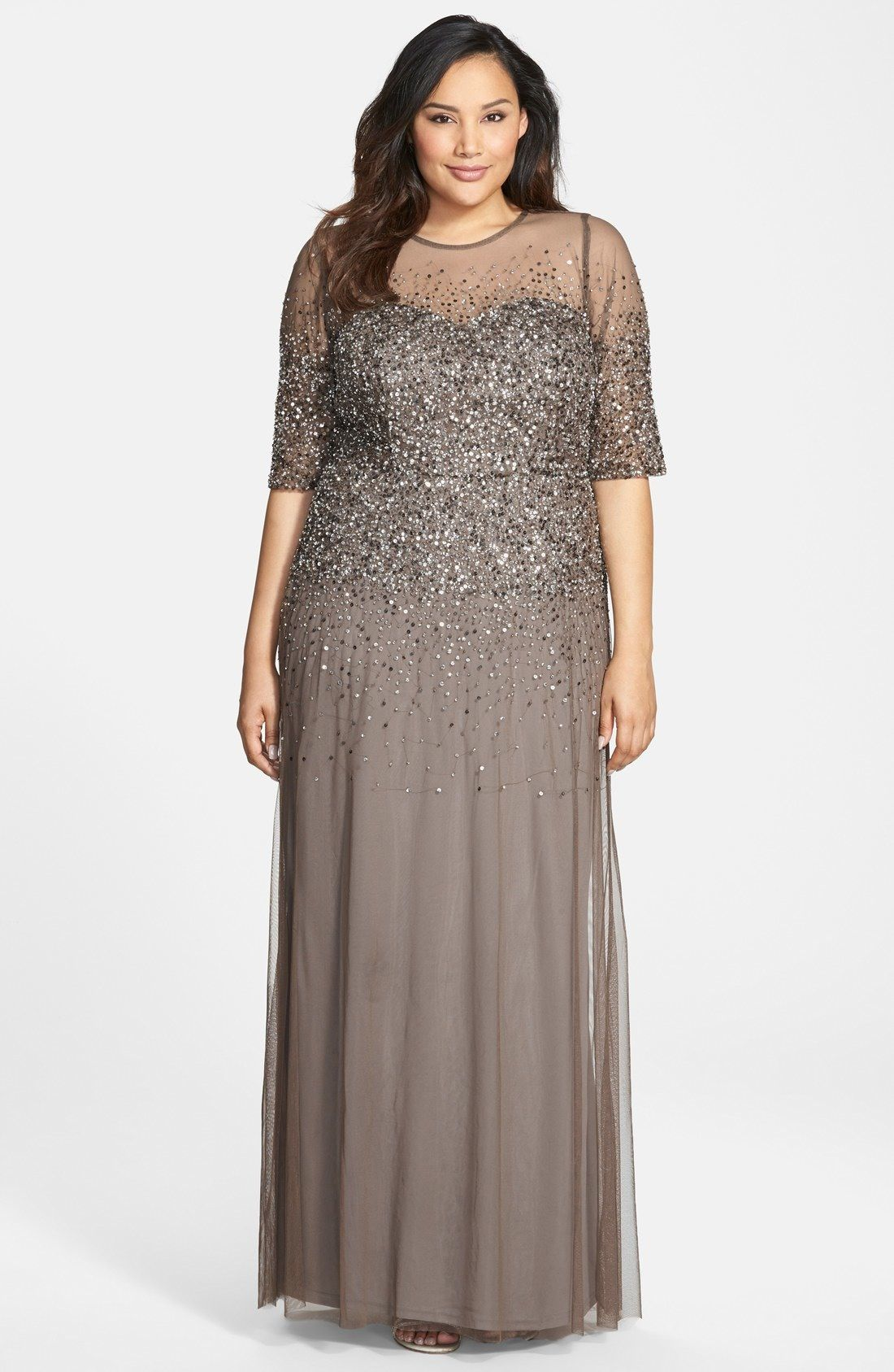 1e9daa917db Adrianna Papell Beaded Illusion Gown (Plus Size) available at  Nordstrom