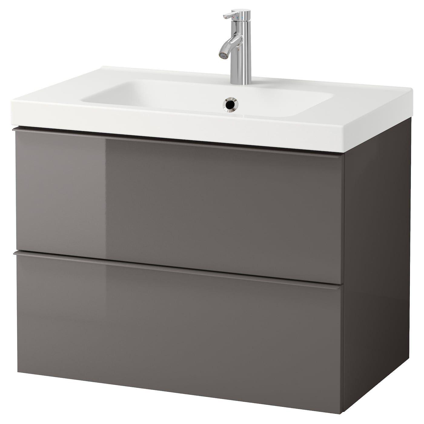 Bathroom Dalskar Gloss Godmorgon Gray High Ikea Odensvik
