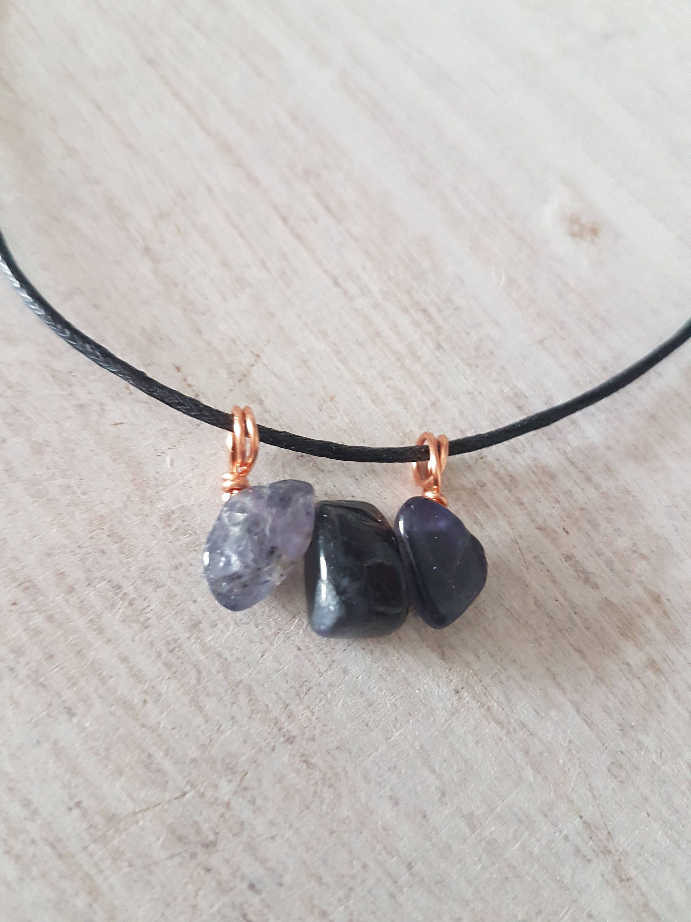 Iolite choker - copper - blue pendant - wire wrapped stones ...