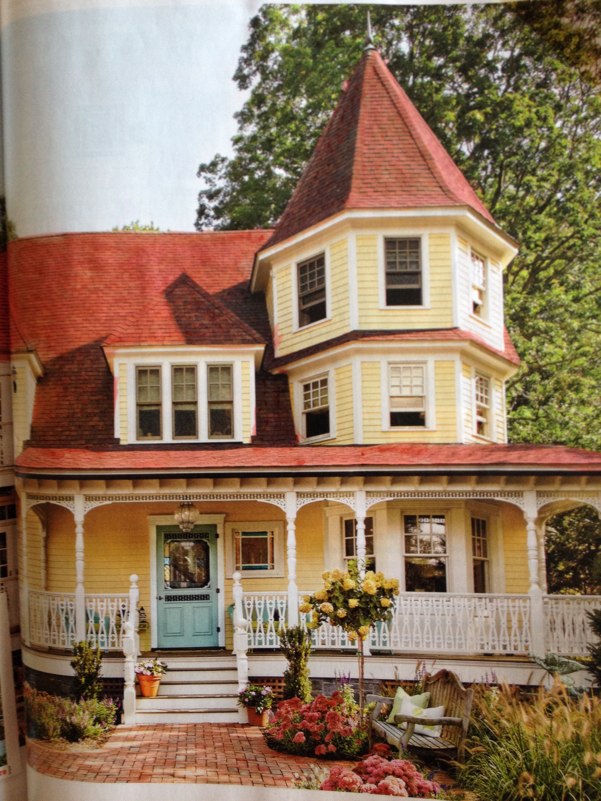 Red Roof Blue Door White Trim Door Is Ben Moore Stratton Blue Red Roof House Victorian House Colors Painted Lady House