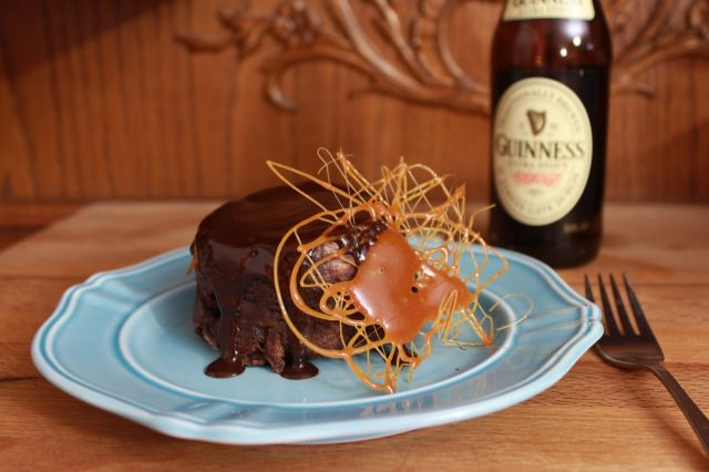 Guinness Chocolate and Caramel Bread Pudding Bombs | saraheatsaustin