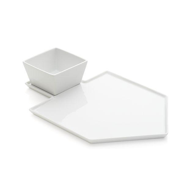 Dreidel Shaped White Platter With Dip Bowl In Hanukkah