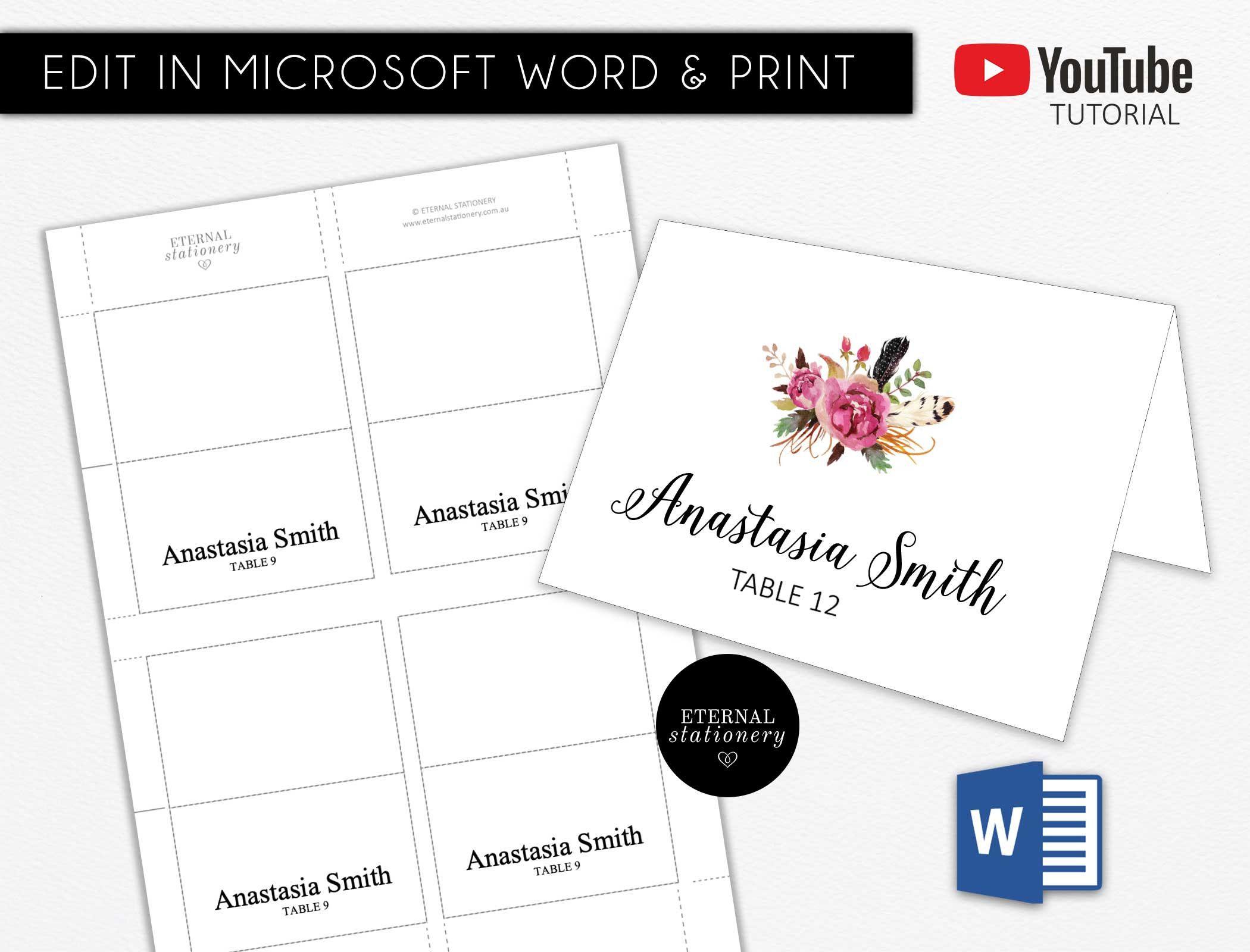 Diy Editable Microsoft Word Place Card Template Wedding Place Etsy Place Card Template Tent Cards Wedding Place Cards