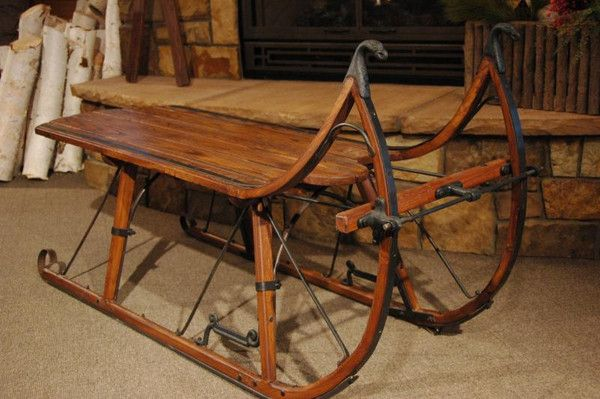 Ski Country Antiques Sleigh Coffee Table Eagle Head Albany Cutter