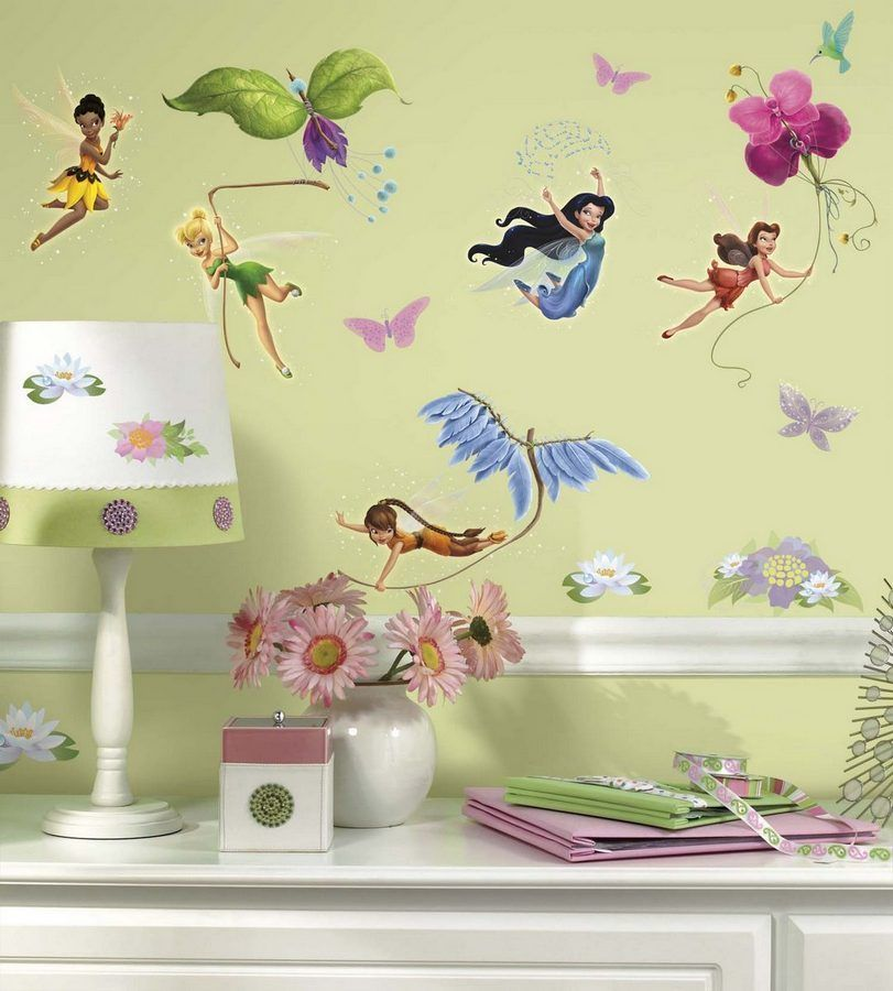 Disney Fairies Wall Decals Removable Stickers Kids Girls Room Decor ...