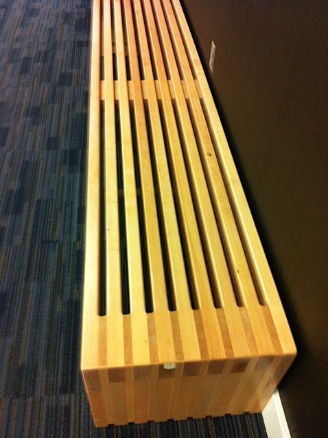 RoxBox Vertical Slat Top Bench Small. Clear semi gloss polyurethane finish. Priced: $599.00 roxbox64@gmail.com tel: 818 400 6959